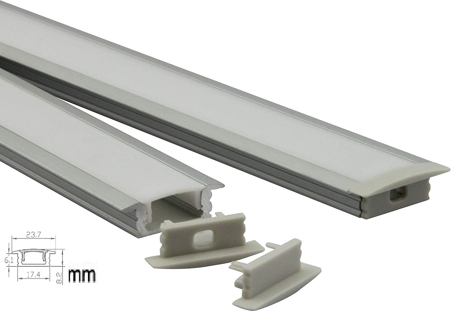 Culver Led U Shape LED Aluminum Channel System with Cover, End Caps and Mounting Clips Aluminum Profile for LED Strip Light Installations, Led Lights Diffuser Segments 2507 6.6ft-2mt-10pack)