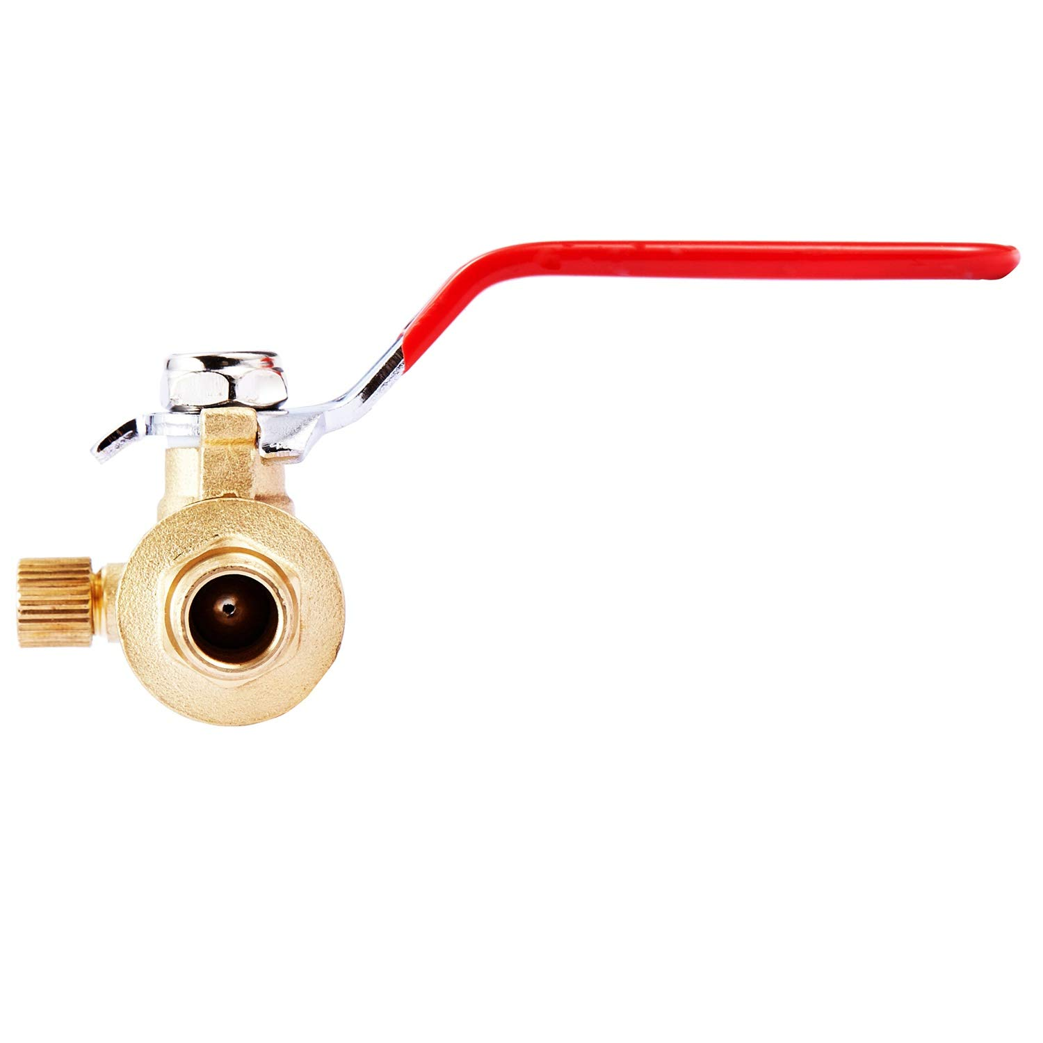 "Litorange Lead Free Brass 2 PCS Full Port 1/2"" x 1/2 Inch PEX Ball Valve With Drain Water Shut Off Switch Fittings(Pack to 2), Lever Red Handle"