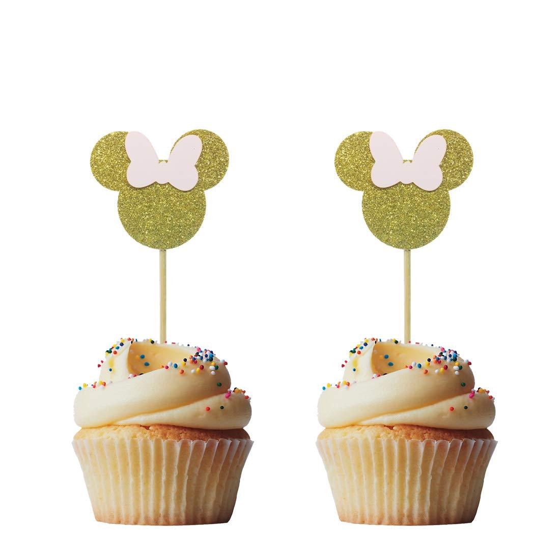 GRAND MICKEY MOUSE oreilles De Noël Fête Anniversaire Cup Cake Toppers Pick Silver Glitter