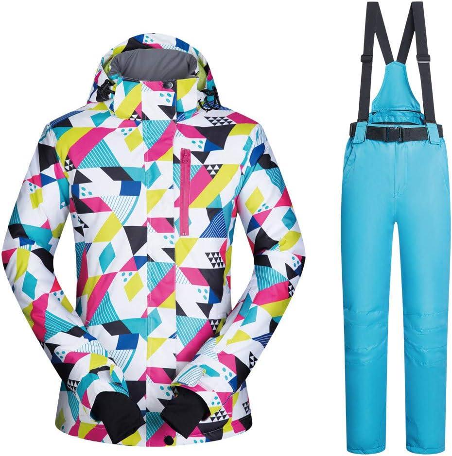 防水スノーシューズ、 スキースーツ女性のスーツ冬の暖かい単板ダブルボードスキーパンツスーツ (色 : C7, サイズ : S) C7 Small