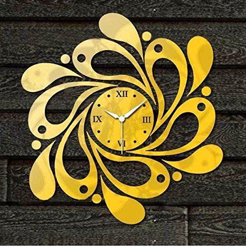 Alrens_DIY(TM) Golden Flower Spiral Shape Luxury Modern Design Art Acrylic Non-ticking Queit Quartz Wall Clock DIY Removable 3D Wall Clock Home Decor Mirror Wall Sticker Living Room Bedroom Office Decoration