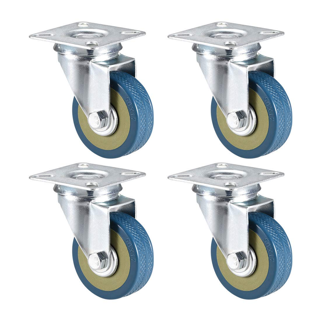 Capacity Swivel castors with 2-inch PVC Wheels Mounted on top Plate 44 lb 4 Pieces