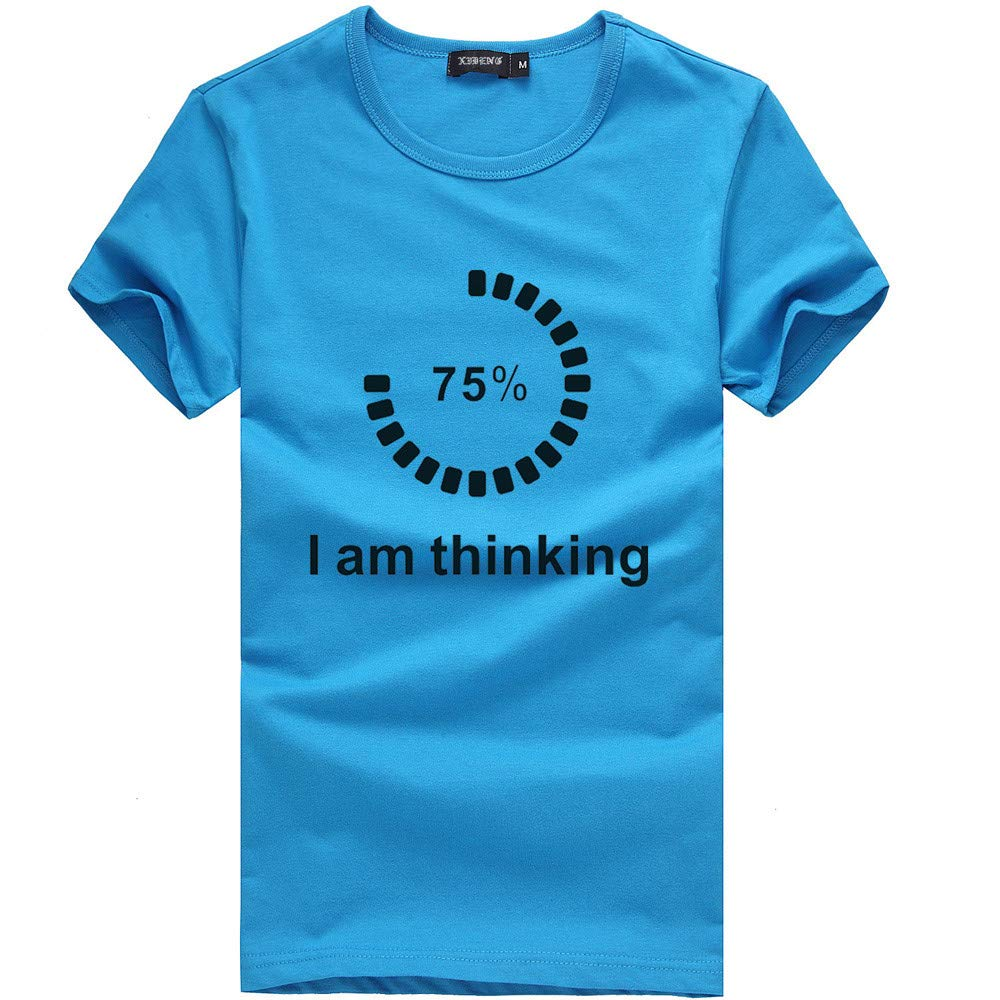 Men's T Shirt Funny Loading Letter Print Tee Shirt Teen Boy Sport Fitness Blouse Zulmaliu (Blue,L)