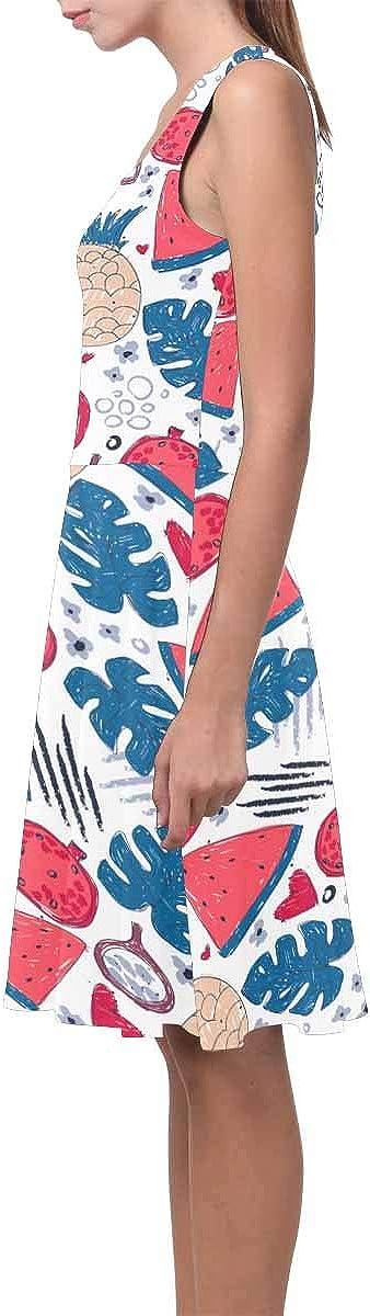 XS-3XL INTERESTPRINT Womens Sleeveless Tank Dresses Exotic Fruits Leaves Casual Flared Sundresses
