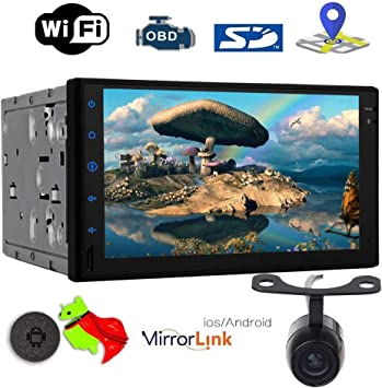 Android 8.1 Oreo Double Din Head Unit Octa Core Car Stereo 7 inch Capacitive Touch Screen 1024600 1080p Video Player GPS Navigation 2 Din Radio Bluetooth 2GB 32GB WiFi Phone Mirror with Backup Camera