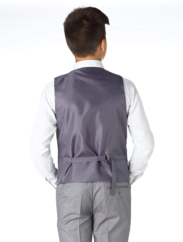 SHENLINQIJ Boys Grey 5-Piece Suit Gentleman Boys Modern Fit Tuxedo Jacket Pants and Vest