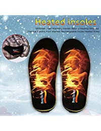 Battery-Operated Wireless Heated Insoles Rechargeable Electric Foot Warmer Insole Cut-To-Fit US 5-12 Shoe-Pad for Men Women