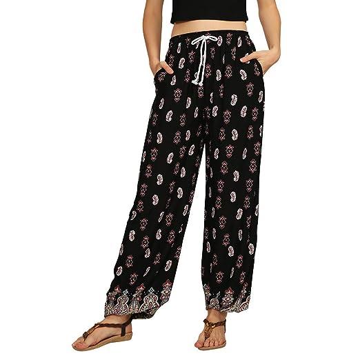 28dea9a3d5 JOFOW Wide Leg Pants Womens Ethnic Boho Floral Flowers Print Aladdin Loose  High Waist Swing Casual