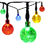 easyDecor Globe Solar String Lights 30 LED 21ft 8 Mode Bubble Crystal Ball Christmas Lights for Outdoor Landscape Garden Patio Home Holiday Path Lawn Party Decoration (Multi Color) (1)