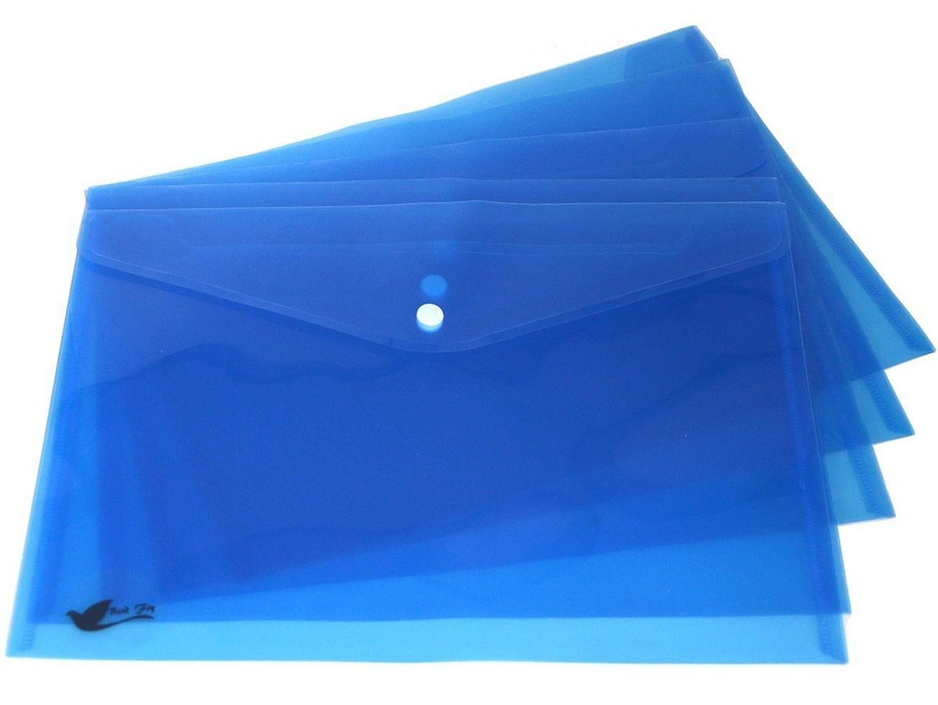 Bird Fiy 12PCS Clear Document Folder With Snap Button,Premium Quality Poly Envelope, US Letter/A4 size (Blue) by Bird Fiy (Image #6)
