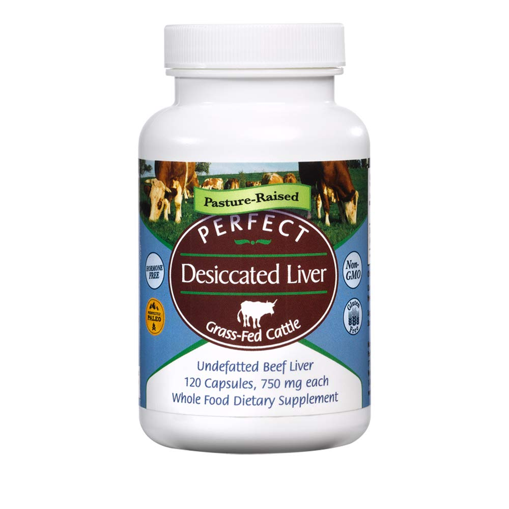 Perfect Desiccated Liver Capsules, 100% Grass Fed Undefatted Argentine Natural Beef Liver Supplements, 120 Capsules, 750mg per Capsule by Perfect Supplements