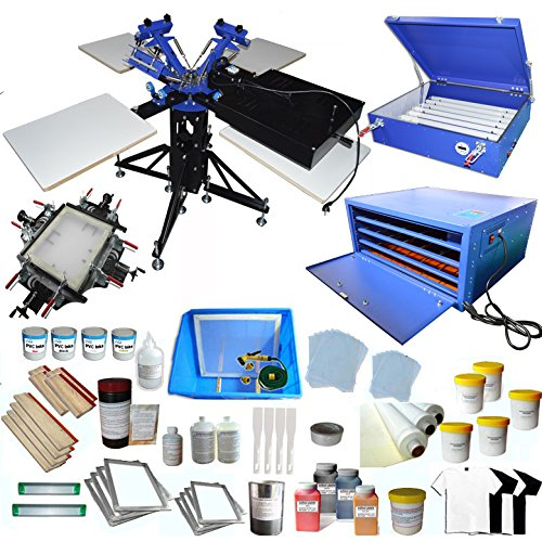 Full 3-4 Screen Printing KIt With Flash Dryer Complete Material Supply by Screen Printing Kit