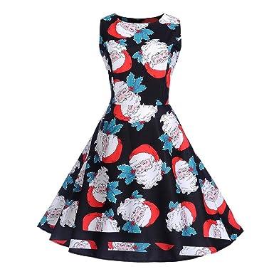 IBàste Elegante Natale Abito Donna Vestito Festa Vestiti Natalizi Babbo  Natale Vintage Audrey Retro Vestito Swing  Amazon.it  Abbigliamento 40a5076a640