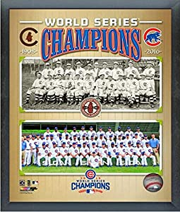 """Chicago Cubs 1908 & 2016 World Series Champions Team Photo (Size: 12"""" x 15"""") Framed"""
