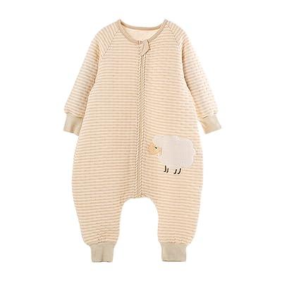 0853bcbf83643 LifeWheel Surpyjama en coton bio coloré avec manches et ouvertures aux pieds  pour enfant de 6 à 60 mois marron Brown(Sheep) M