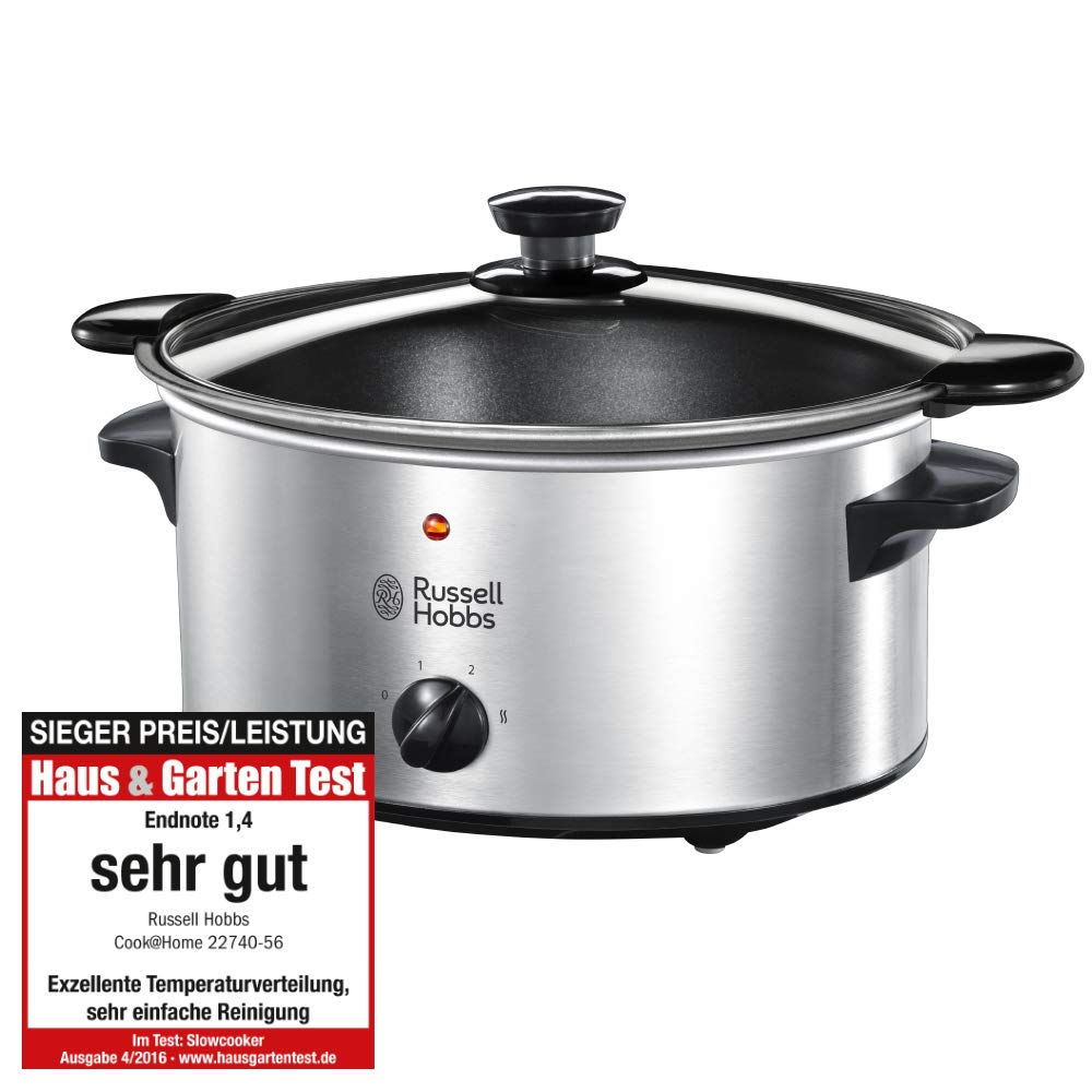 Russell Hobbs 22740-56 Slow Cooker @ Home, Crock Pot, Electric Slow Cooker, 3 Temperature Settings, 3.5l, Stainless Steel / Black