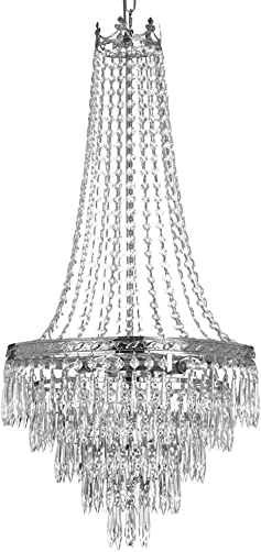 French Empire Crystal Chandelier Chandeliers Lighting, SILVER, H30 X Wd17, 4 Lights,
