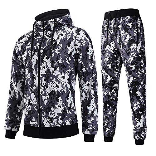 FZDX Men's Jogging Full Tracksuit Pullover Camouflage Hoodies Fleece Joggers Set, Camo2, Medium