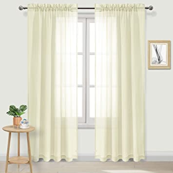 DWCN Sheer Curtains Pale Yellow Linen Rod Pocket Window Curtain Panels  Living Room Curtains,Set of 2, 52 x 84 inches Long