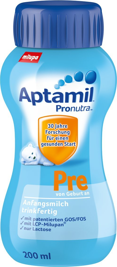 Aptamil Pre Anfangsmilch, trinkfertig  6 x 200 ml 602270 Flüssigmilch Pre-Milch Wiederverschließbar