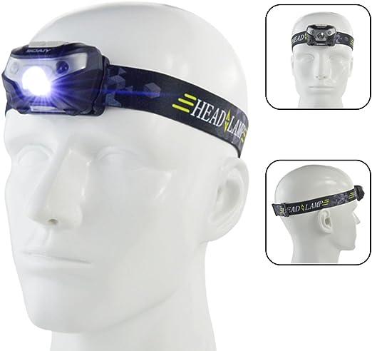 SOAIY® Sensor de movimiento Control Headlamp, manos libres batería ...