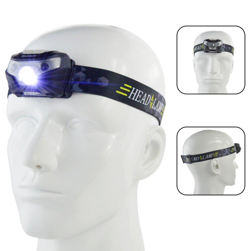 SOAIY® Sensor de movimiento Control Headlamp, manos libres batería deporte Faro linterna, LED luz para correr, camping, lectura, pesca, caza, senderismo, correr, senderismo manos libres batería deporte Faro linterna I-SY-IHLB78043