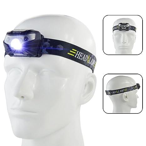 SOAIY® Sensor de movimiento Control Headlamp, manos libres batería deporte Faro linterna, LED