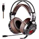 XIBERIA Gaming Headset with Microphone USB for PC, Over Ear Wired Surround Sound Computer Headphones, Volume Control Enhanced Bass Noise Canceling with LED Light for PS4, Laptop, Mac (Brown)