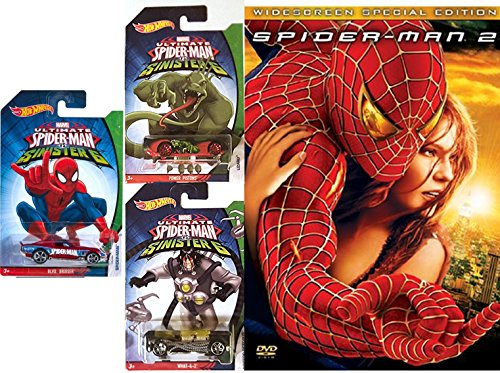Marvel Spider-Man 2 Widescreen Special 2-DVD Edition with Hot Wheels Ultimate Spider-Man vs Sinister 6 (Doc Oc and Lizard) die-cast Vehicles 3-Car - Hot Blaze Cat The