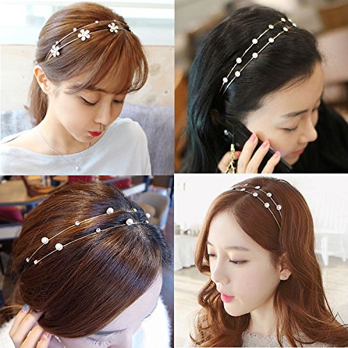 Dual 12 promotional hair accessories Korea diamond fine hair hoop headband Korean layout double pearl diamond hair band cocking shipping for women girl lady