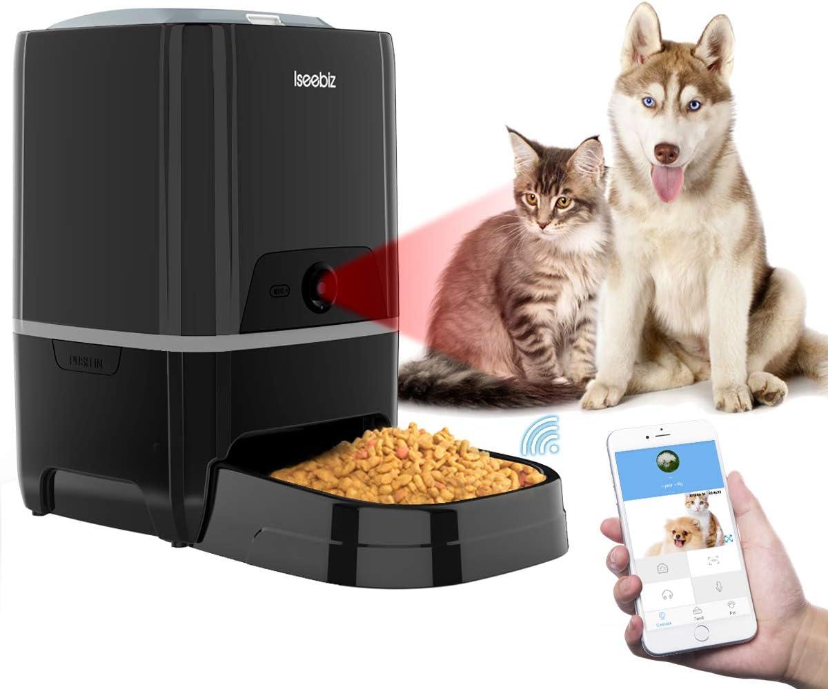 comedero automático para perros, con cámara y micrófono comida a distancia color negro