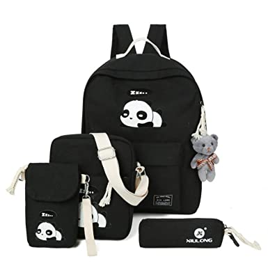 884de319447f 4pcs Fashion Canvas Backpack Set Schoolbags Cute Panda Printing Bookbag For  Girl Children