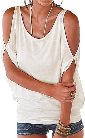 Mujer Camiseta Suelto Batwing Blusa Casual Hombros Descubiertos Cuello RedondoTop tee Verano: Amazon.es: Ropa y accesorios