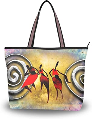 JSTEL Women Tote Top Handle Abstract African Art Shoulder Bags Ladies Fashion Handbag