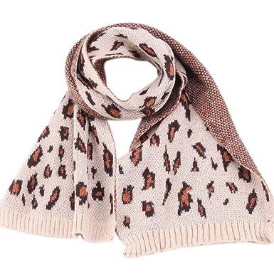 Westeng Enfant Écharpe en tricot Imprimé léopard Chaud Souple confortable  Foulard Automne hiver pour 2 à 0212453cbde