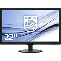 "Philips Monitor 223V5LHSB2 Monitor per PC Desktop 22"" LED, Full HD, 1920 x 1080, 5 ms, HDMI, VGA, Attacco VESA, Nero"