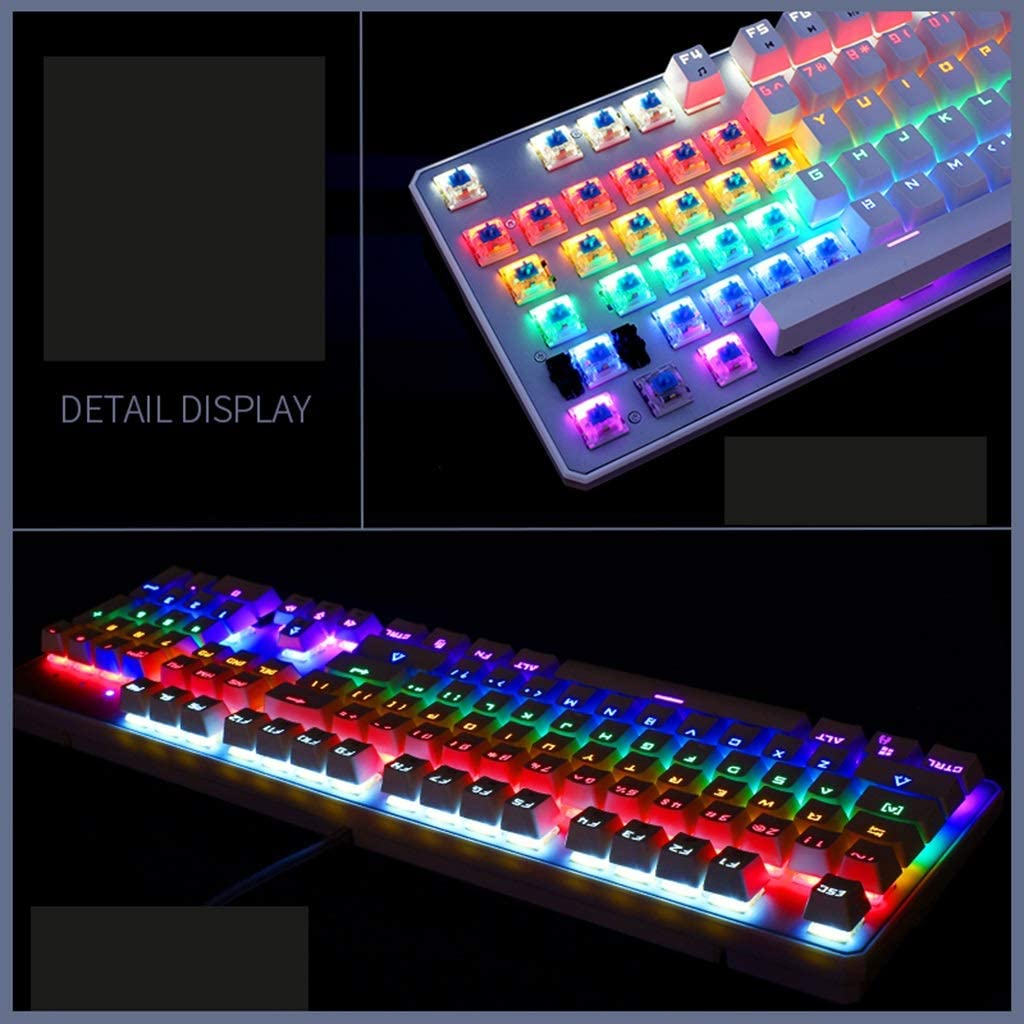 Mix Light OFNMD Mechanical Keyboard and Mouse Set Blue Switch Desktop Computer Cable Keyboard Macro Programming Gaming Mouse 3200DPI 4 Color Backlit QWERTY Key
