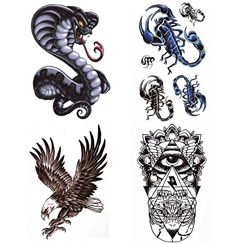 COKOHAPPY 4 Sheets Large Animal Temporary Tattoo , Cobra Snake Eagle Bird Hawk Wing Eye Totem Scorpion Flash Tattoo , Easy to Apply and Long Lasting for Women (Amazing Female Halloween Costumes)