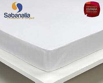 Sabanalia Wasserdichtes Bettlaken aus Baumwolle 31 cm 105 x 200 Wei/ß