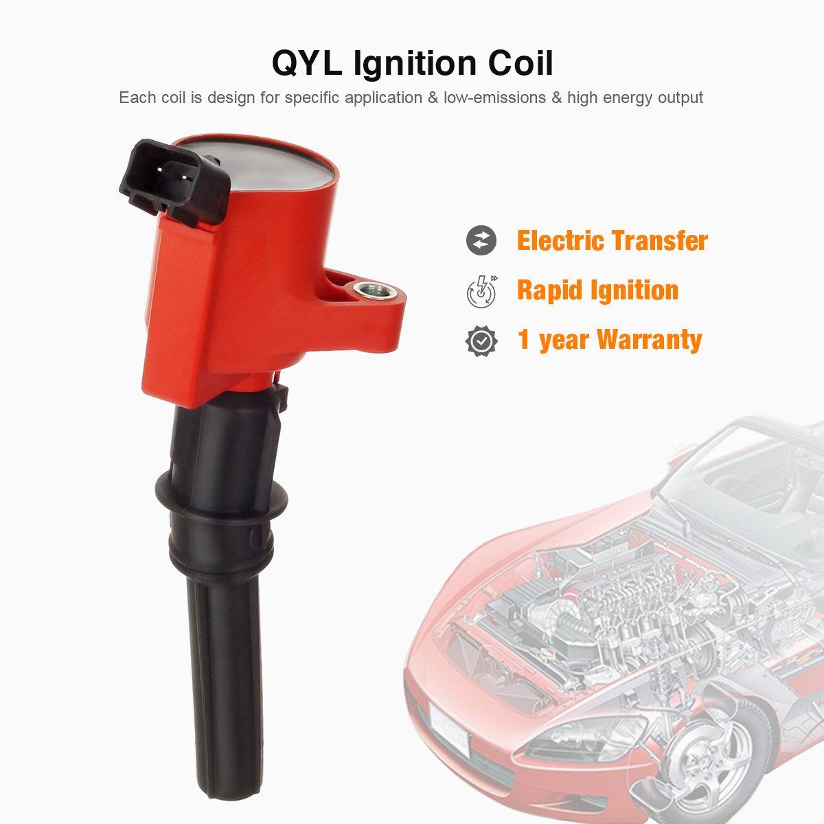 Paquete de 8 bobinas de encendido de alto rendimiento, color rojo, para Ford Lincoln Mercury 4,6 L 5,4 L V8 DG508 C1454 C1417 FD503 (no sirve para 2004 F150 ...