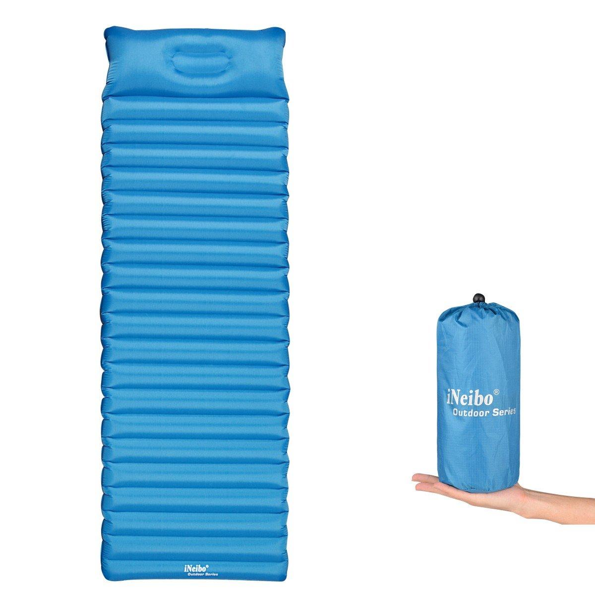 iNeibo Colchón de aire de camping ultraligero, Esterilla para dormir al aire libre, con cojín integrado, hecho de material de TPU. Tamaño: 186x60x8,5cm.