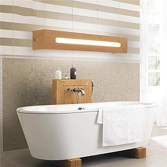 YANZHEN-Badezimmer Wandleuchte LED-Massivholz-Spiegel-Frontseiten ...