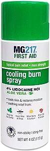 MG217 Cooling Burn Spray, Maximum Strength Pain Relief with 4% Lidocaine and Moisturizing Aloe Vera, 4 Ounce