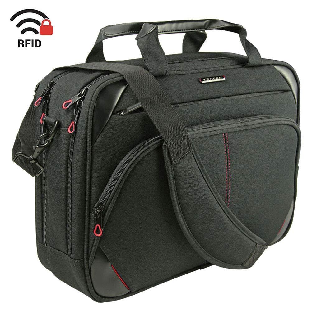 Kroser Sacoche pour ordinateur portable 15,6', à bandoulière, hydrofuge, durable, avec poches IRF pour travail, école, unisexe Black/Red 6 à bandoulière école TAM2843-BlackRed