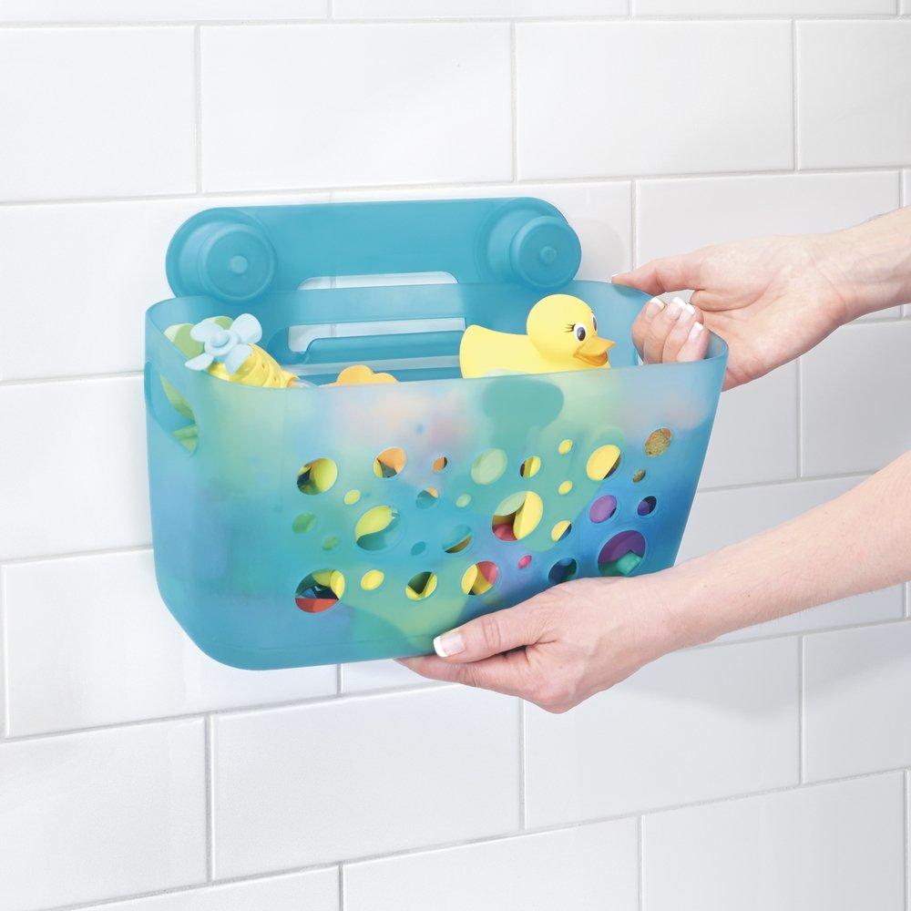 Amazon.com: mDesign Kids/Baby Bathroom Shower Suction Caddy Basket ...