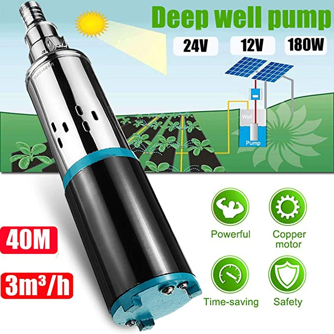 24V solar water pump submersible pump deep well pump 2m³//h stainless steel 40m