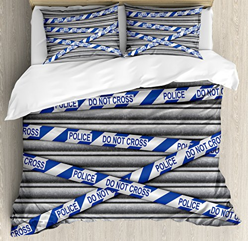 Murder Scene Queen Size Duvet Cover Set by Ambesonne, Metal Shutter with Police Do Not Cross Tape Restricted Area Crime Image, Decorative 3 Piece Bedding Set with 2 Pillow Shams, Grey Blue White (Queen Shutter)