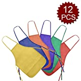 Opromo 12 Pack Non-Woven Fabrics Unisex Colorful Kids Apron for DIY Painting Artist Available in 2 Sizes(S/M)-Assorted with Pockets-S