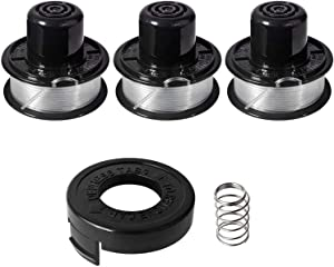 "Yabey Weed Eater Spools Compatible with Black and Decker RS-136 ST4500 ST1000 ST4000 GE600 CST800 ST6800 String Trimmer Replacement Spool Line 20ft 0.065"" Edger Refills Parts Auto-Feed (3 Spool+1cap)"