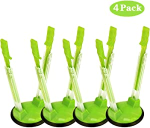 Adjustable Baggy Rack, Staont No-hands Food Storage Holders For Food Prep Bag, plastic Freezer Bag, Clip-Ideal Kitchen Gadget (Green, 4Pack)